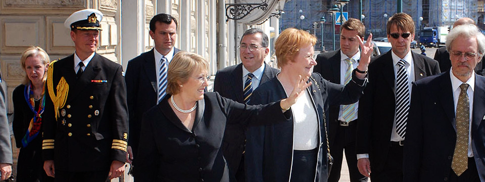 With Presidents Halonen & Bachelet