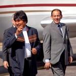 Intérprete de Evo Morales, presidente de Bolivia.Evo Moralesin, Bolivianpresidentin tulkkinaInterpreter of  Evo Morales,President of Bolivia.